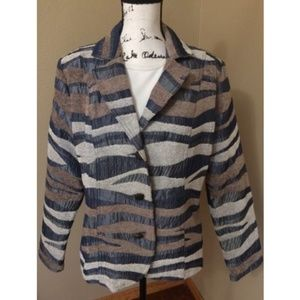 Erin London Women's Grey Blue Zebra Blazer 2 pc